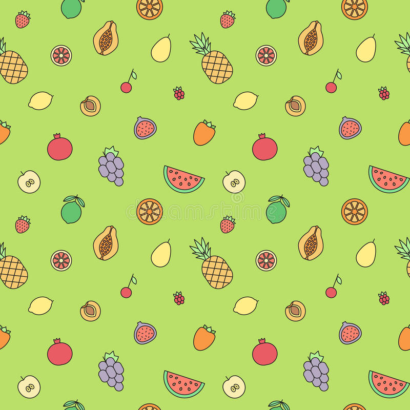 Fruits multicolored outline seamless vector pattern. Modern minimalistic design. royalty free illustration