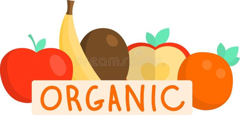 Fruits organiques frais, banane jaune, pomme rouge, kiwi illustration de vecteur