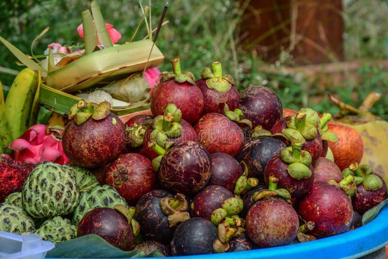 Fruits organiques frais de mangoustan au marché photo stock
