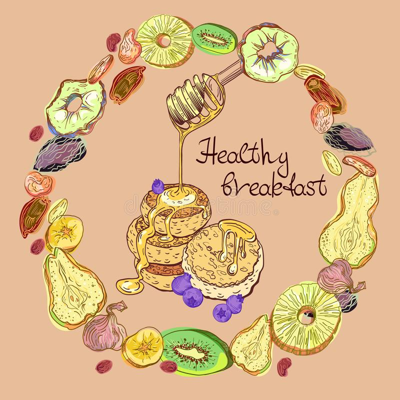 Fruits and pancakes in round. Dehydrated fruits and pancakes with honey and blueberrys in round pattern. Sweet breakfast vector illustration with lettering vector illustration