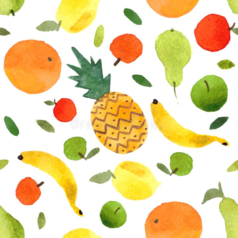 Watercolor set of fruits colorful hand-drawn fresh pineapple, apples, pears, lemons, oranges, mandarins, tangerines, bananas. Fruits pattern seamless watercolor stock illustration