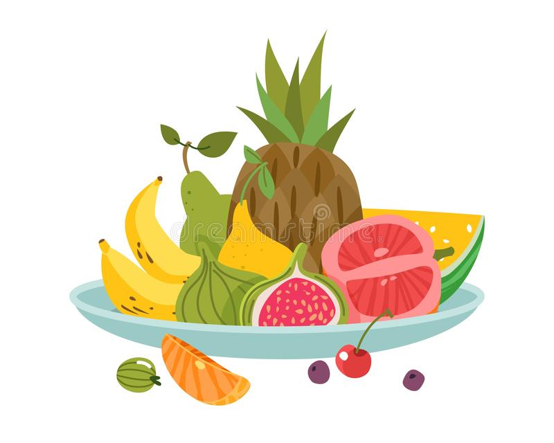 Fruits plate. Dinner bowl dish fruit lunch delicious diet health fresh appetizer, cartoon vector isolated royalty free illustration