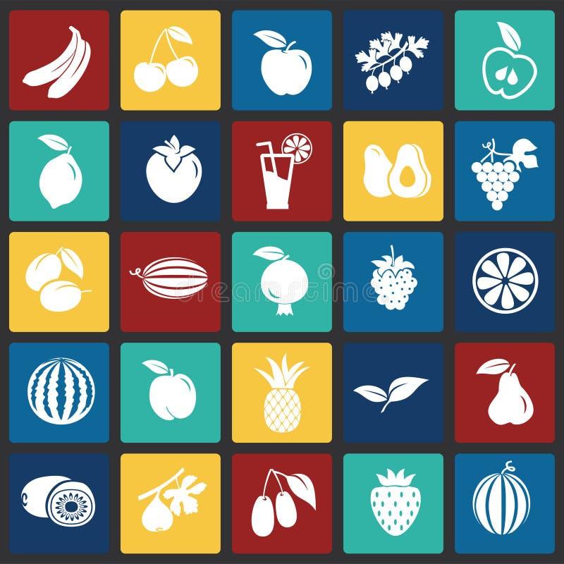 Fruits réglés sur le fond de places de couleur illustration libre de droits