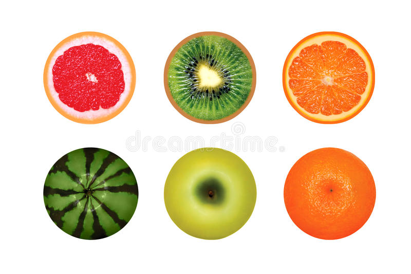 Fruits ronds juteux d'isolement sur un fond blanc, pamplemousse, pastèque, kiwi, orange de pomme photo stock