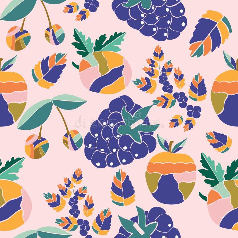 Fruits routiniers colorés, dans une conception répétée de modèle illustration stock