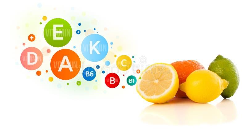 Download Fruits Sains Avec Des Symboles Et Des Icônes Colorés De Vitamine Image stock - Image du juteux, mangue: 45365849
