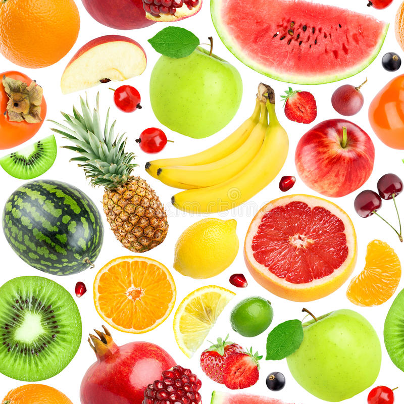 Fruits seamless pattern. Background of fresh falling mixed fruits. Healthy food royalty free stock images