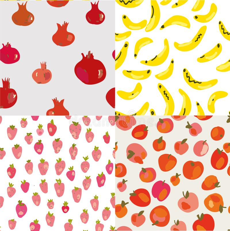 Fruits seamless patterns with banana, strawberries, apples and pomegranate. vector illustration