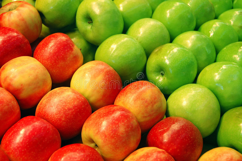 Fruits Series. Fruits - Green and Red Apples stock photography