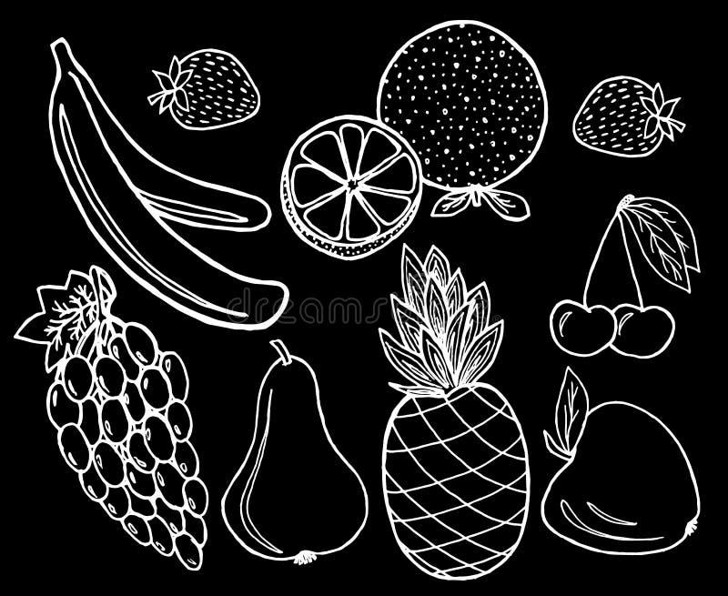 Fruits set on black background. stock photography