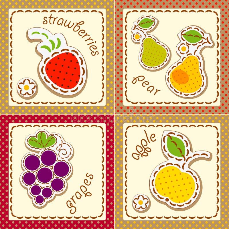 Free Fruits. Set Cards Royalty Free Stock Photos - 29009008