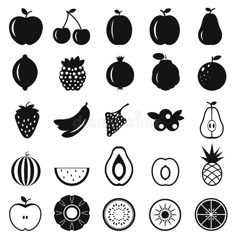 Fruits simple icons stock illustration