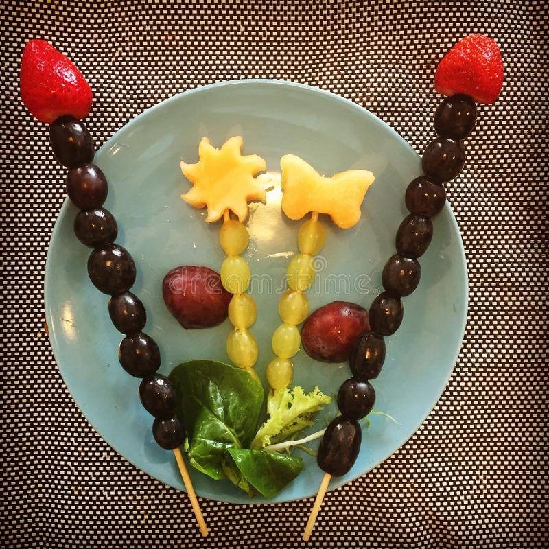 Fruits on skewers grapes fruitpresentation plum strawberry musk melon butterfly star skewers royalty free stock photography