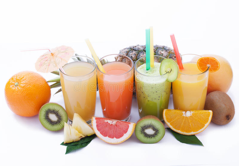 Fruits smoothies, summer cool drinks top view macro stock photography