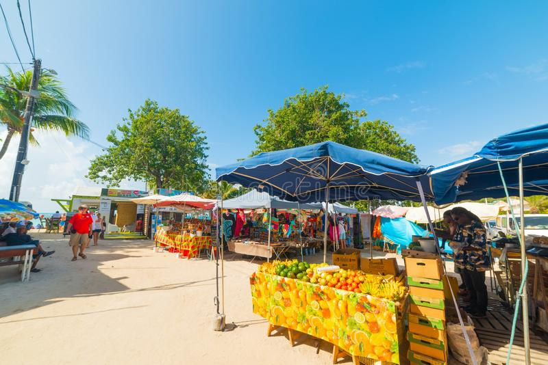 Fruits and souvenirs stands in Guadeloupe royalty free stock image