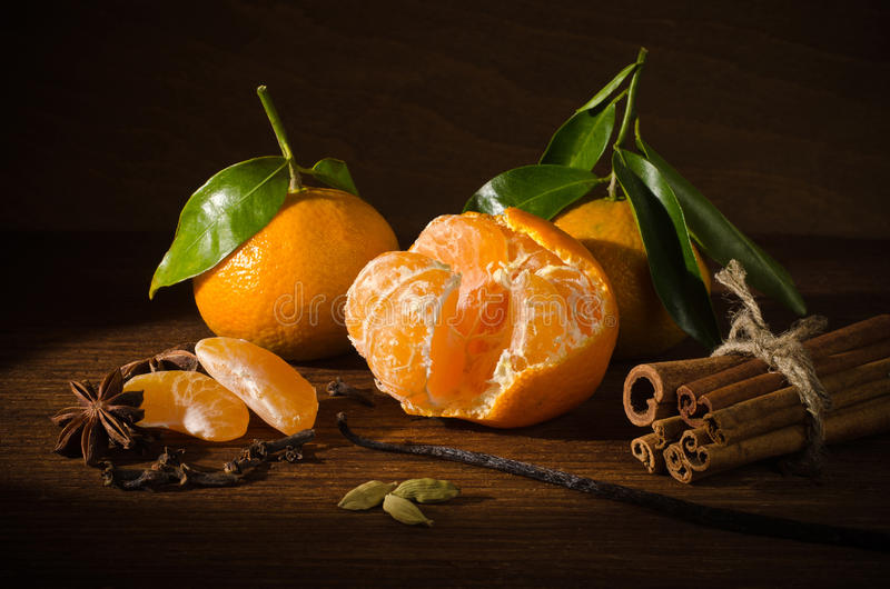 Fruits and spices stock images