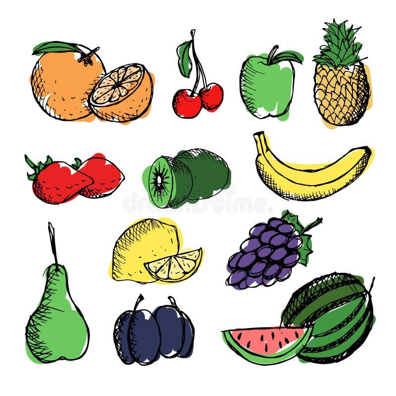 Fruits sur le fond blanc illustration de vecteur
