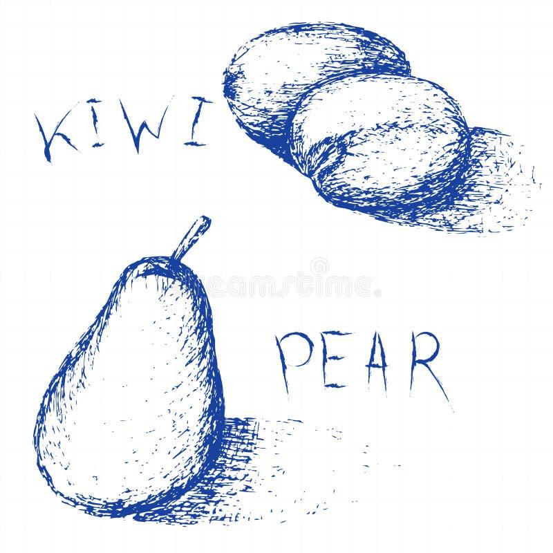 Fruits tirés par la main Ensemble de croquis de fruit d'été Kiwi et poire illustration de vecteur