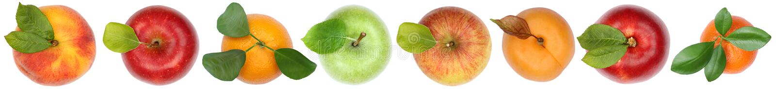 Fruits top view from above apple orange isolated on white in a r stock photography