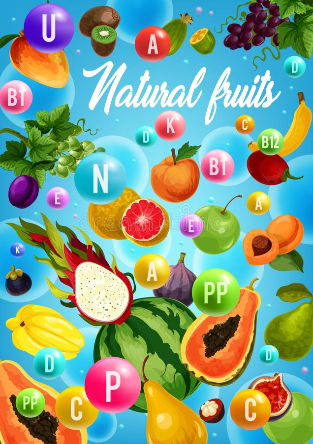 Fruits and tropical berries vitamins. Health food royalty free illustration