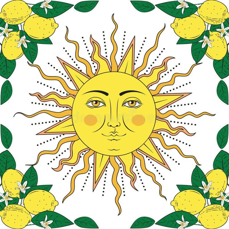 Fruits tropicaux de citron d'agrume avec le cadre de fleurs et soleil avec le visage humain Éléments colorés d'été Illustration d illustration stock