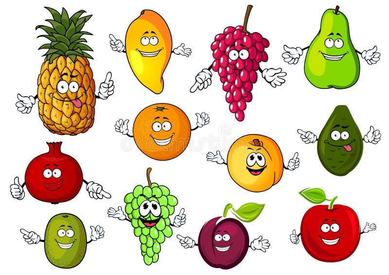 Fruits tropicaux frais de bande dessinée heureuse illustration de vecteur