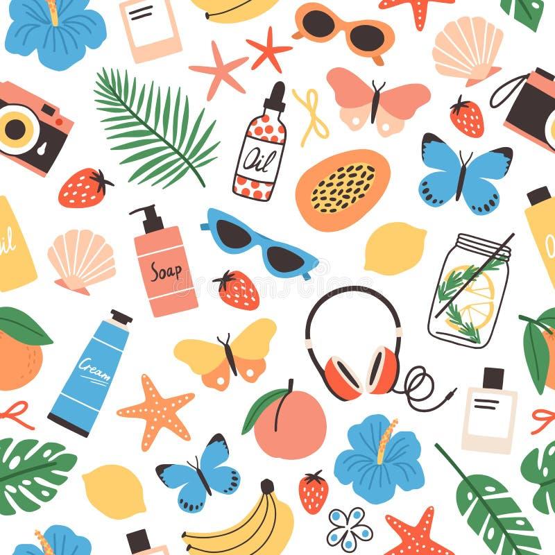 Fruits tropicaux frais de modèle sans couture d'été, coquillages, fleurs exotiques, palmettes, lunettes de soleil, papillons lumi illustration stock