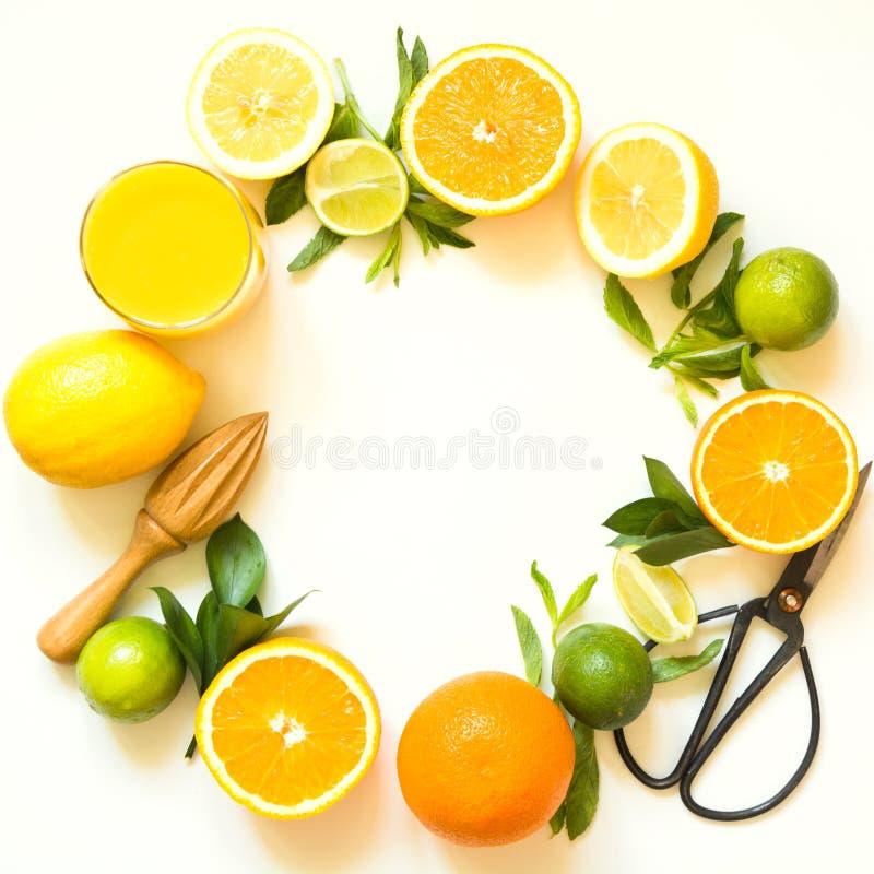 Fruits tropicaux pour la fabrication du jus du citron, orange, chaux par le presse-fruits en bois sur le fond blanc Vue supérieur image libre de droits