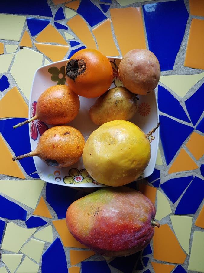 Fruits tropicaux sur le dessus de table étendu avec la mosaïque colorée photo libre de droits