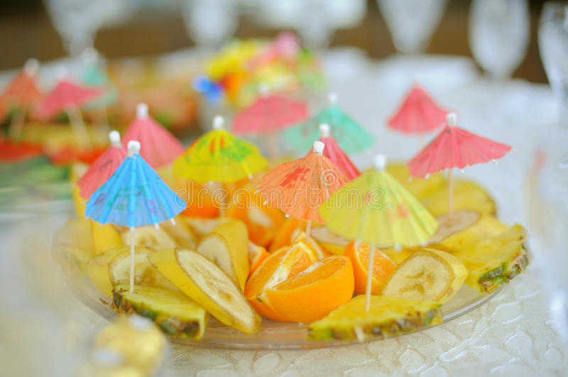 Download Fruits with Umbrellas stock image. Image of freshness - 30501693