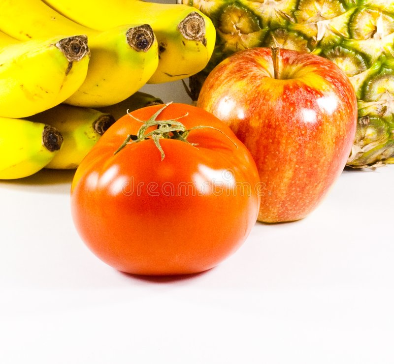 Download Fruits Varied With Tomato In First Plane On White Stock Image - Image: 8932413
