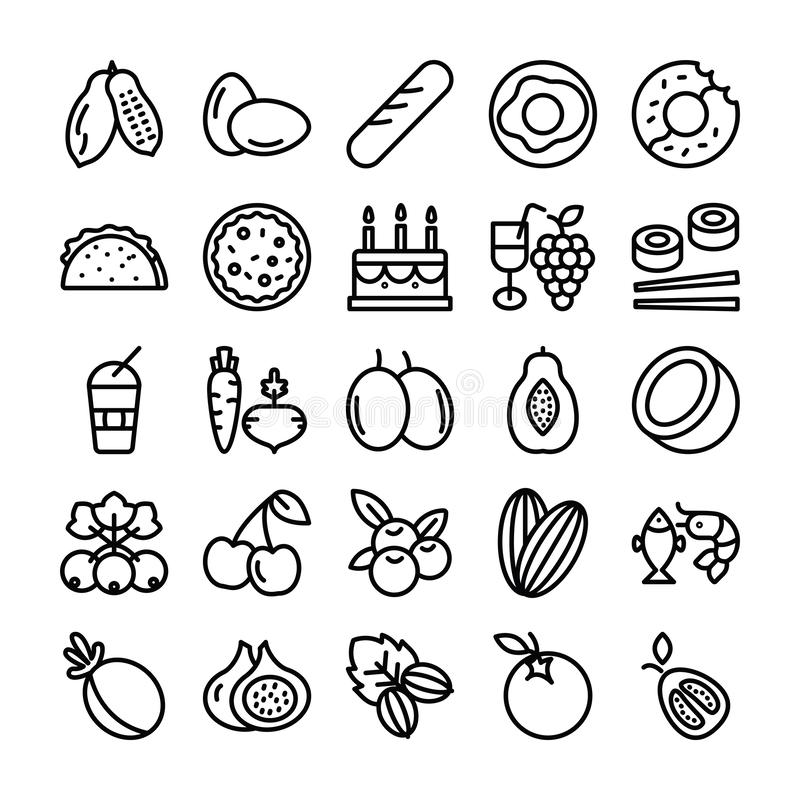 Fruits and Vegetable Icons stock illustration