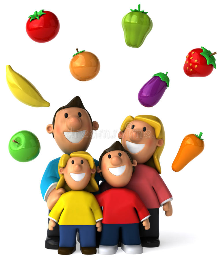 Fruits and vegetables. 3d generated picture royalty free illustration