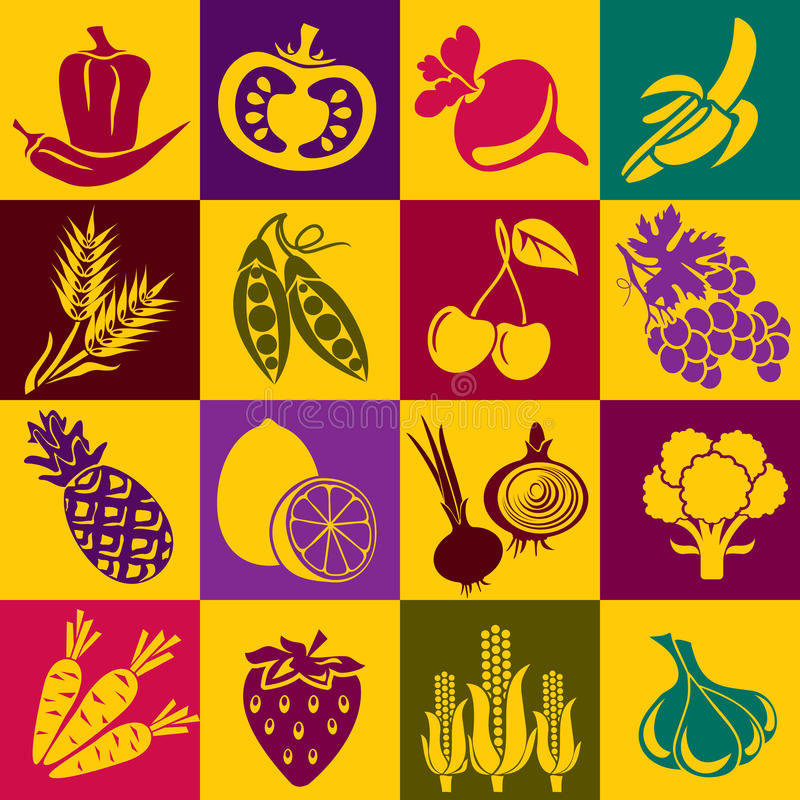 Fruits and vegetables. Seamless background with colorful symbols of fruits and vegetables. Alternation of light and dark cells vector illustration