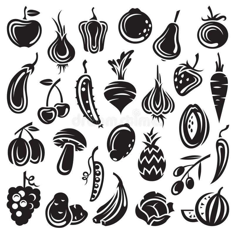 Fruits and vegetables royalty free illustration