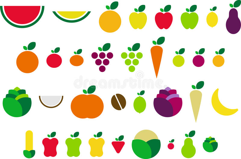 Fruits and vegetables. A few ized fruits and vegetables royalty free illustration
