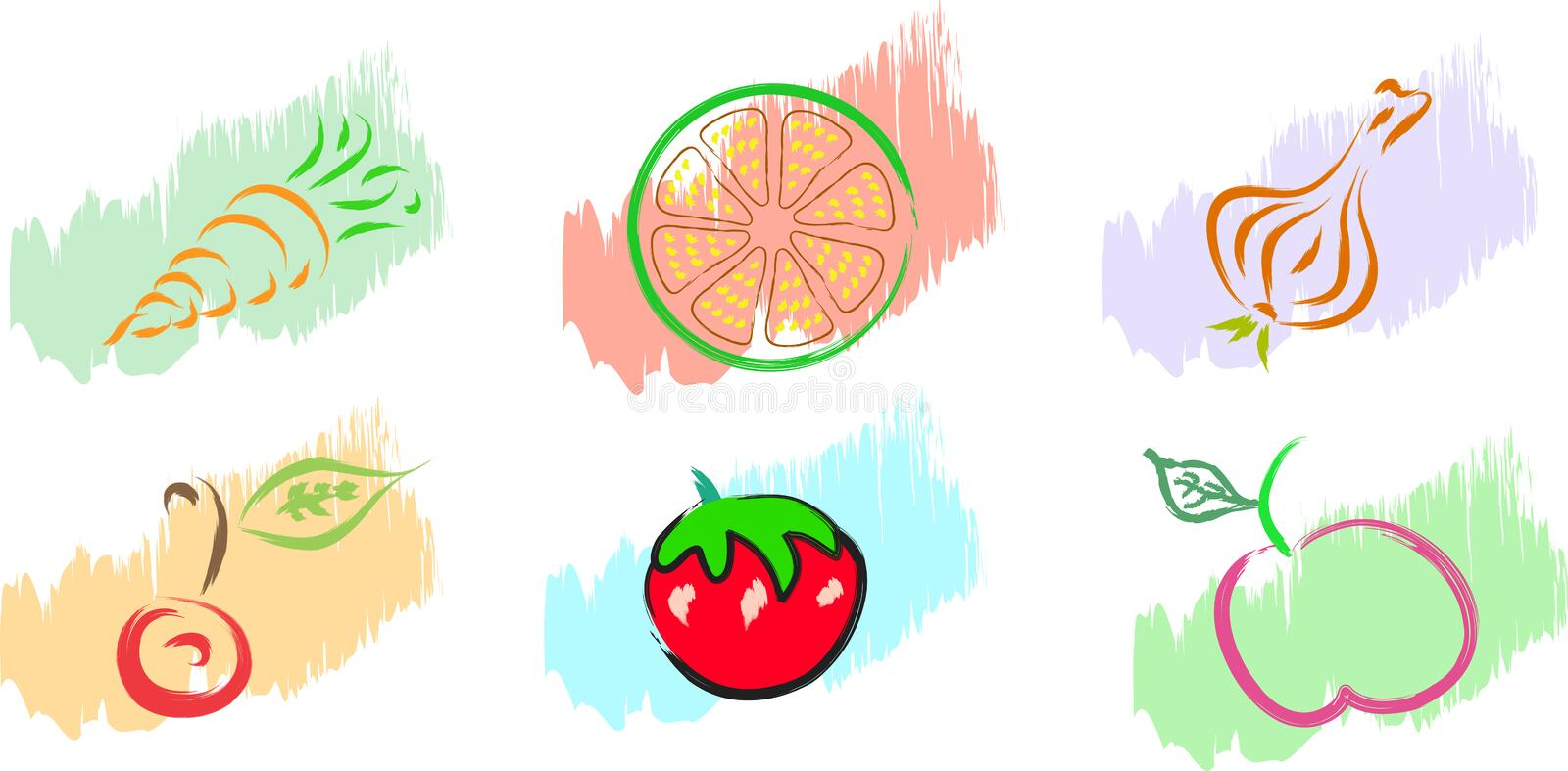 Download Fruits and vegetables stock vector. Image of berries - 25985712