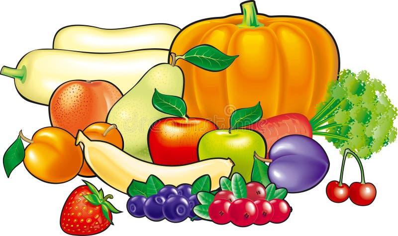 fruits vegetables 向量例证