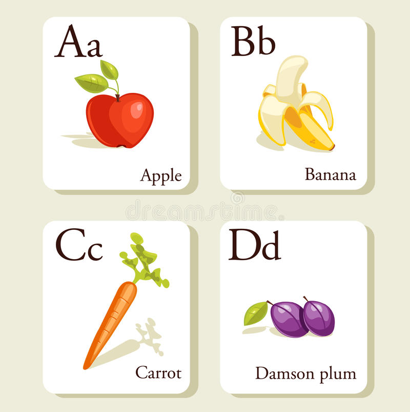 Download Fruits And Vegetables  Alphabet Cards Stock Vector - Image: 17825644