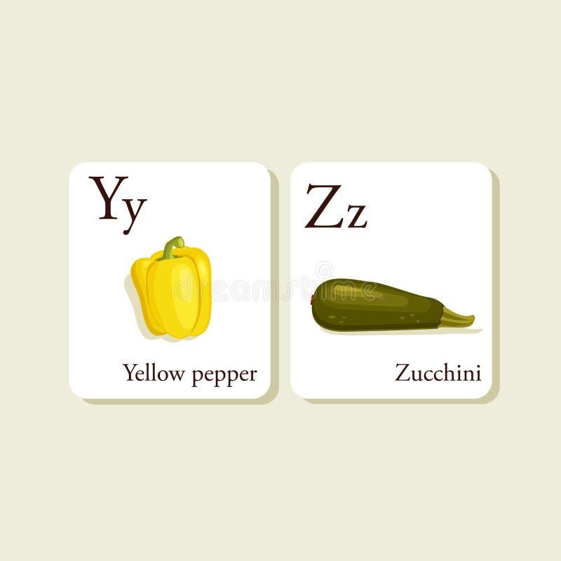 Fruits and vegetables alphabet cards stock illustration