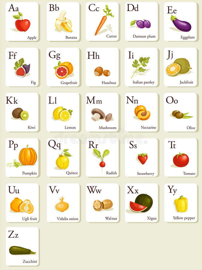 Fruits and vegetables alphabet cards royalty free illustration