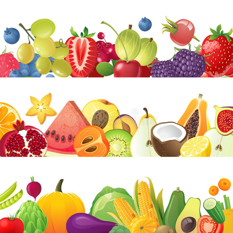 Free Fruits Vegetables And Berries Borders Stock Photography - 45494312