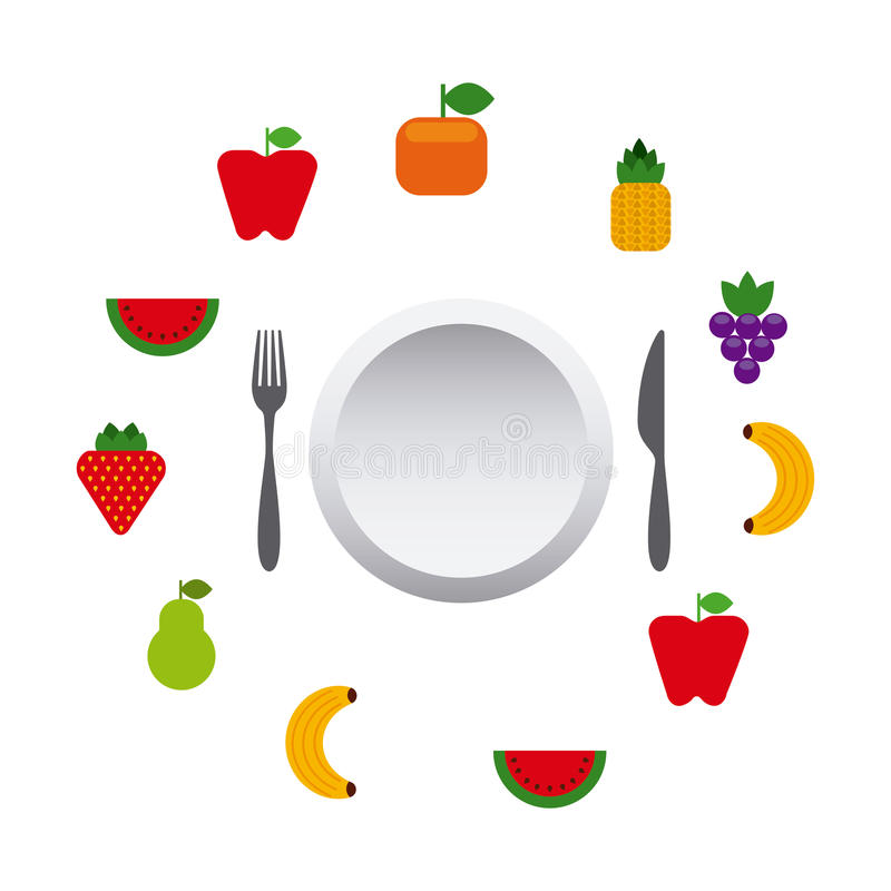 Fruits and vegetables. Around plate and silverware. colorful design. illustration vector illustration