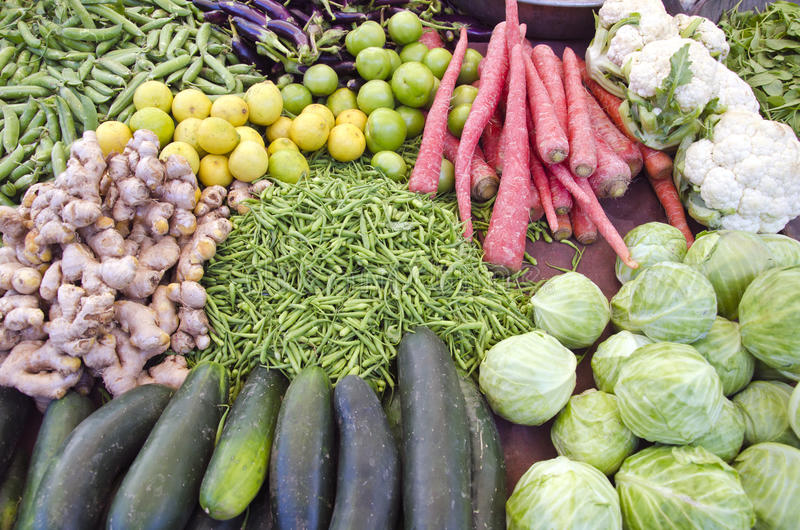 Fruits and vegetables in asia market, Rajasthan, India stock photos