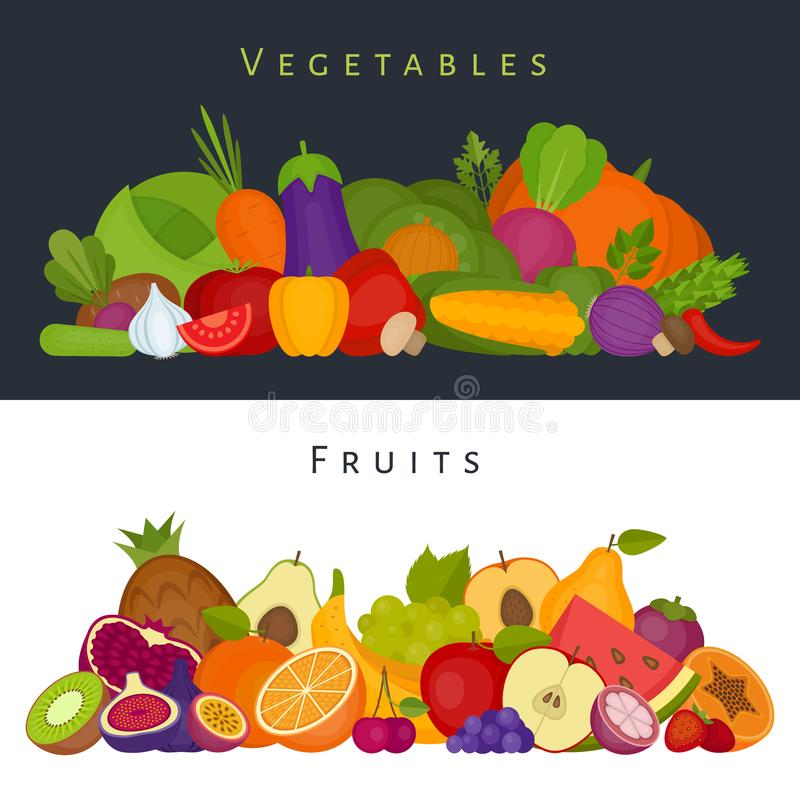 Fruits and vegetables banner. Healthy food. Flat style, vector i. Llustration stock illustration