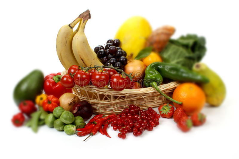 Download Fruits And Vegetables In A Basket Stock Photo - Image: 18743610