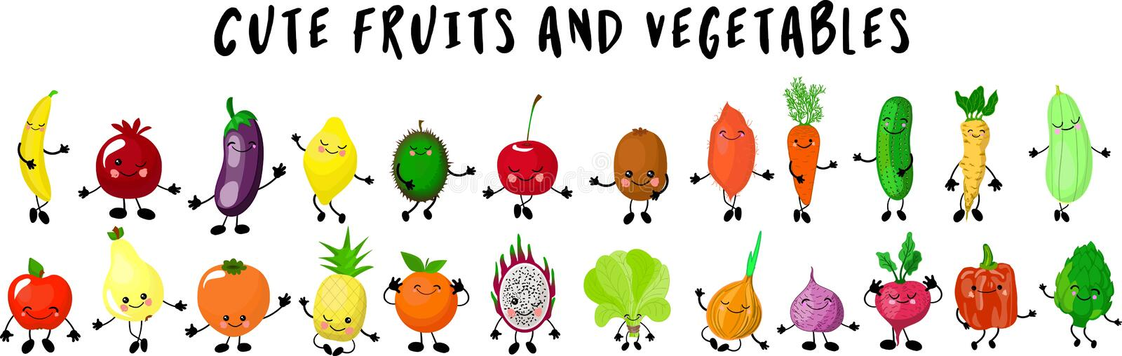 Fruits and vegetables. Big collection of characters gesturing and waving their hands.hite background. Different mixed together vector illustration