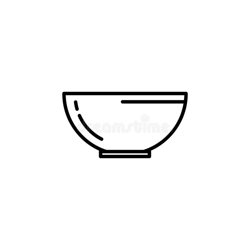 Fruits or vegetables bowl icon. Kitchen appliances for cooking Illustration. Simple thin line style symbol royalty free illustration