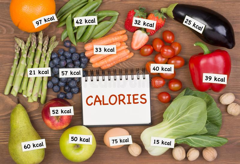 Fruits and vegetables with calories labels. Ts and vegetables with calories labels. Counting calories and weight loss concept royalty free stock images