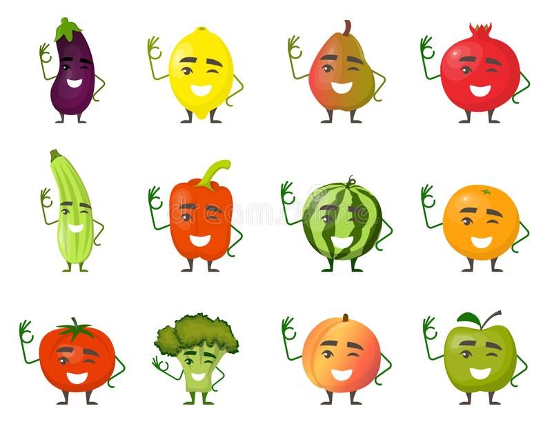 Fruits and vegetables cartoon characters with hands and legs smile and show gesture OK. Cheerful fruit and vegetable characters in stock illustration